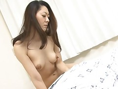 Two dudes boned hawt Asian mother i'd like to fuck making her engulf their weenies on her knees